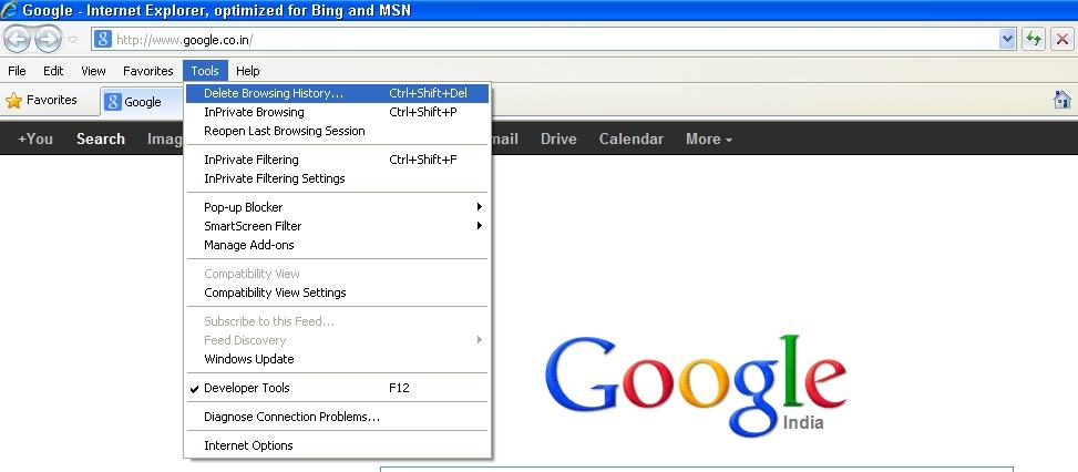 clear cache internet explorer