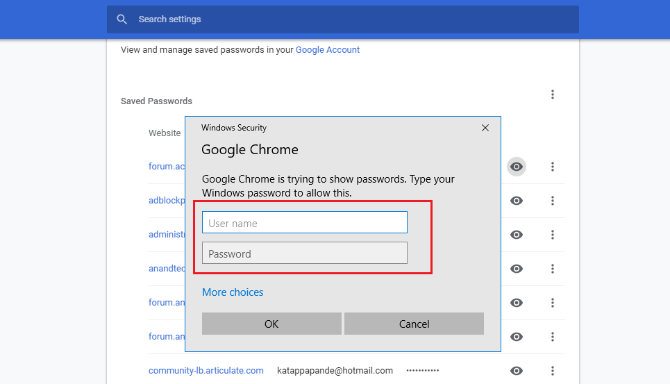how to view password in chrome