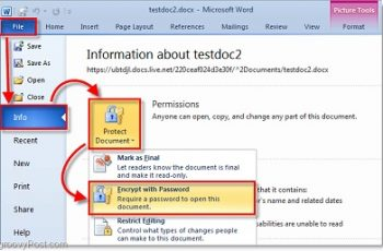 how to password protect word document
