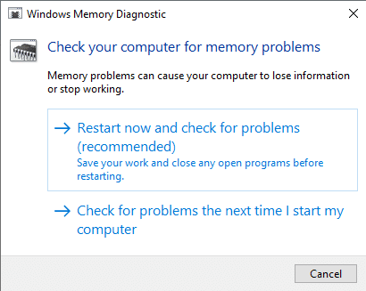 memory diagnostic tool windows 10