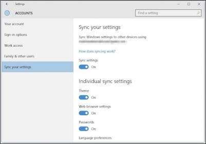 windows 10 syncing my settings